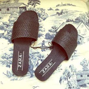 ZARA black NWT woven Sandals slide one!